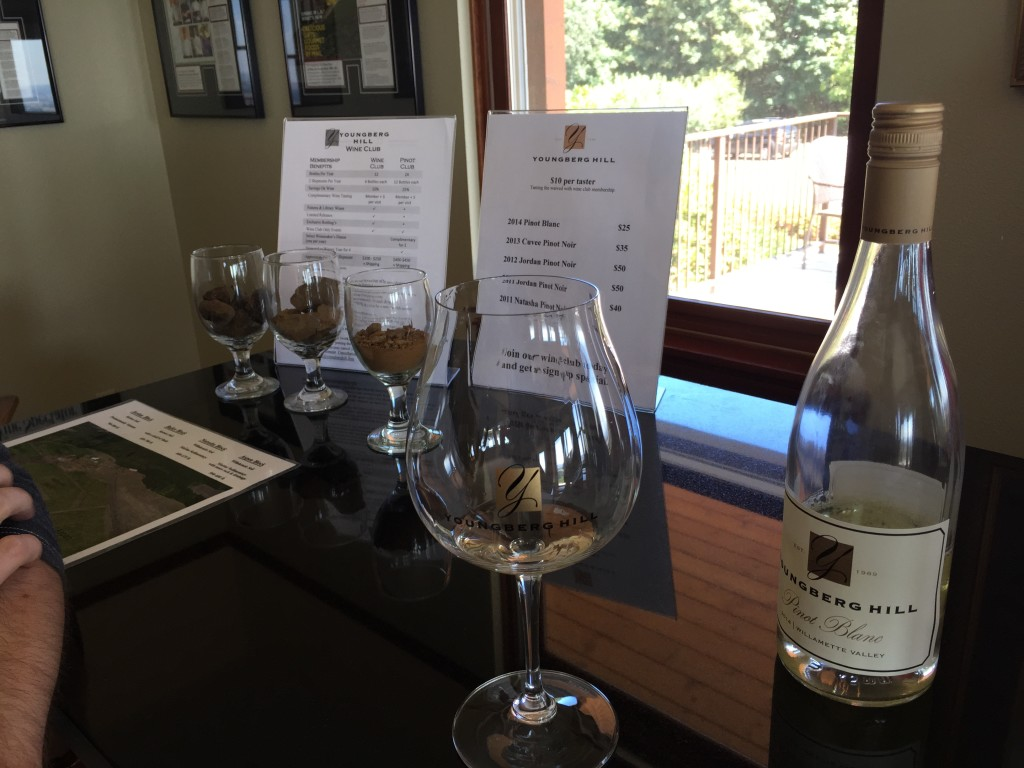 Youngberg Hill Tasting Room and wine flight