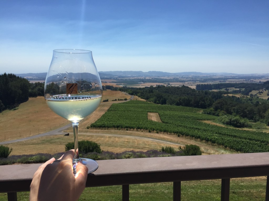 Youngberg Hill Pinot Blanc and vineyard view